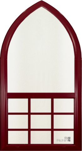 Beautifully rounded red, wood-textured trim specialty window with rounded top and grid