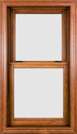 Beatiful woodgrain texture on vinyl double-hung window